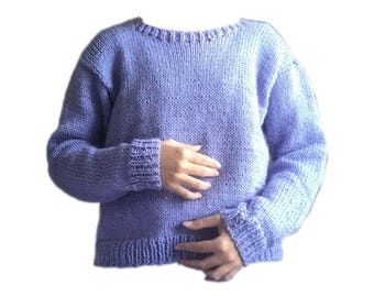 Handmade knitted lilac sweater