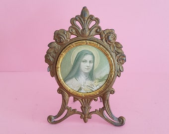 Religious antique French copper/vermeil catholic chapel altar shrine of Holy Mary Our Lady, Virgin Mary, France.