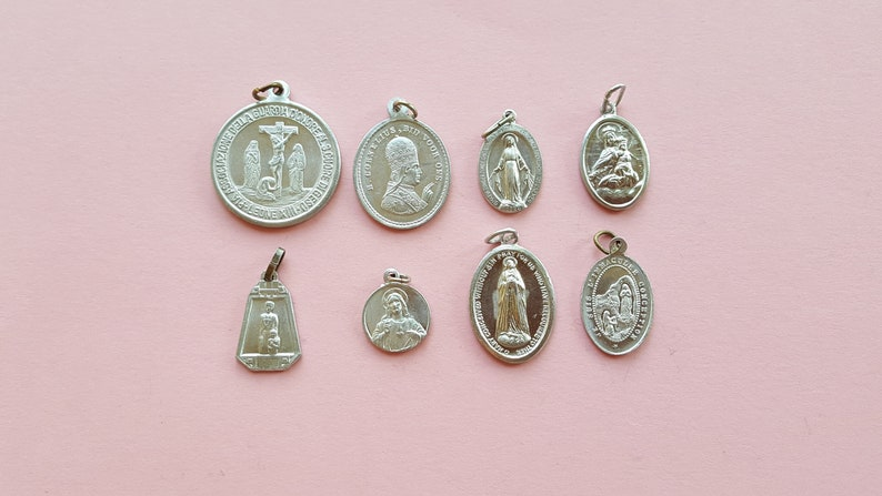 Lot of 8 vintage religious aluminium silvered medal pendant charms Catholic  pendant, Holy Mary, The Virgin Mary, Miraculous medal, Christ
