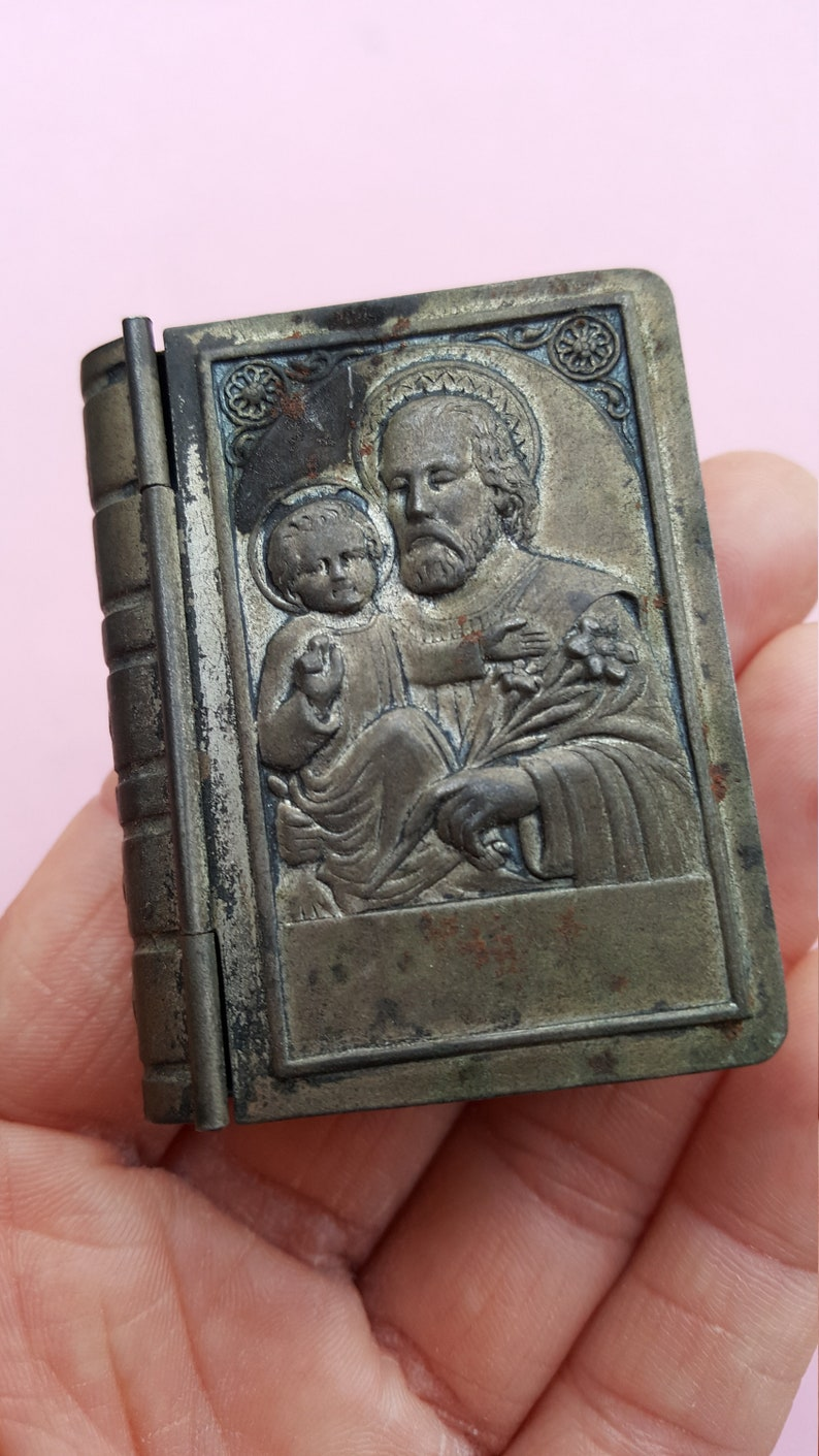 Very old antique silvered Catholic Rosary Case Miniature Box Container Religious Collectible with Saint Joseph and child Jesus.
