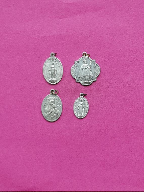 Lot of 4 vintage religious aluminium silvered medal pendant charms Catholic pendant Saint Benedict Virgin Mary. Saint Roch Saint Hubert
