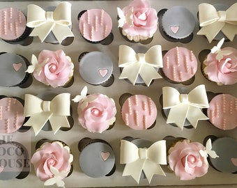 Pink and Grey Girlie Cupcake Toppers