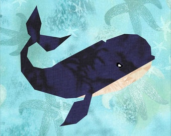 Wally the Whale Quilt Pattern, a 12 inch paper piece foundation paper pattern.