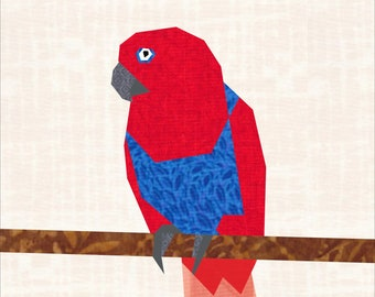 "Female Eclectus Parrot 18"" Quilt Block Pattern"