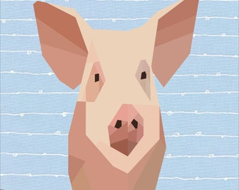 Pig Foundation Piece Quilt Pattern. 12 Inch Patchwork Sewing Pattern.