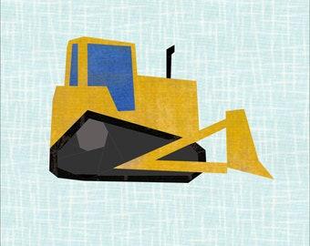 12 Inch Bulldozer Paper Piece Quilter's Block Pattern. Foundation Paper Excavator Pattern. Patchwork Quilt Template. Paper Piece Pattern