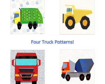 Truck Quilt Pattern Pack. Four 12 inch Paper Piece Patterns including Rubbish Truck, Dump Truck, Big Red Lorry and Cement Mixer.