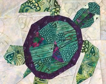"Tommy the Turtle 12"" Quilt Block"