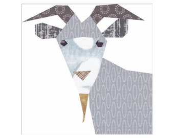 Goat 12 Inch Quilt Block, Foundation Paper Pieced Pattern with 2 Pattern Options!