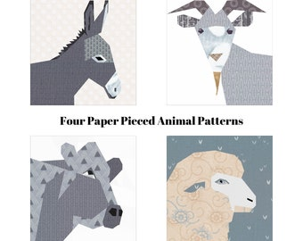 Farm Animal Quilt Pack, Four Paper Pieced Quilt Patterns