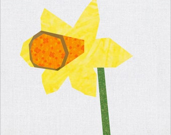 Daffodil, 9 Inch Foundation Pieced Quilt Block from the Grandmothers' Garden Lap Quilt