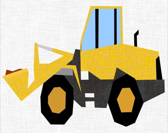 Front End Loader Paper Piece 12 Inch Quilt Block Pattern