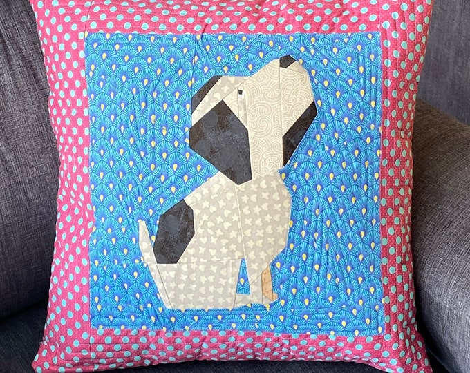 "Featured listing image: Sit Dog, Sit! 12"" Puppy Dog Quilt Block Foundation Pieced Pattern"