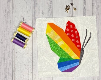 Rainbow Butterfly - Spring Quilt Block