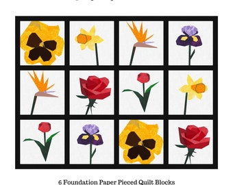 Spring Fling Quilt Pattern: 6 Paper Pieced Quilt Blocks.