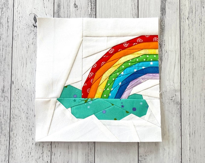 "Featured listing image: Rainbow Out of the Cloud, 9"" Quilt Block."