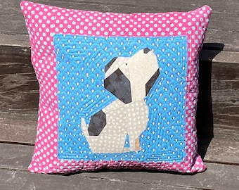"Sit Dog, Sit! 12"" Puppy Dog Quilt Block Foundation Pieced Pattern"