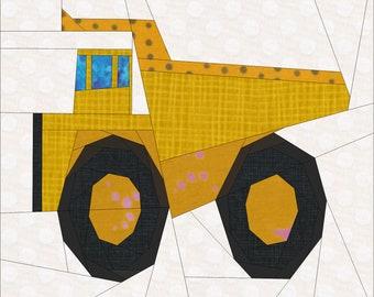 """Dump Truck Quilt Block Pattern. 12"""" Templates."""