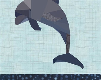Daphne Dolphin Quilt Pattern. A 12 Inch Quilt Block Foundation Paper Pieced Pattern.