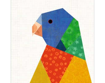 Lorikeet Parrot Paper Piece Pattern for Bird Quilt, Foundation Paper Pattern Tropical Bird Themed Patchwork Quilt, 6 Inch & 12 Inch Pattern