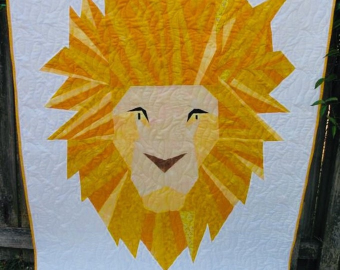 Featured listing image: Lion Brave Quilt; A 48 x 70 Inch Foundation Paper Pieced Quilt Pattern.
