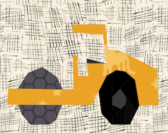 Road Roller Paper Piece Quilt Pattern, 12 Inch Block for Modern Quilt.