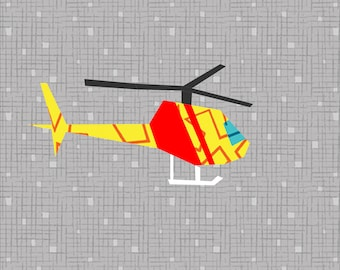 Helicopter 12 Inch Foundation Paper Pieced Quilt Block Pattern.