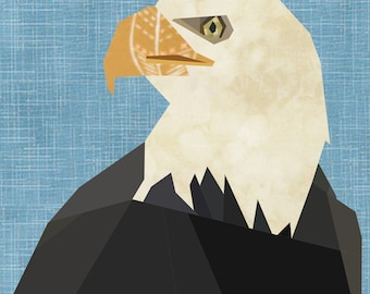 American Bald Eagle Foundation Paper Piece Quilt Pattern, 12 Inch Quilt Block.