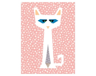 Cadence Cat Paper Pieced Quilt Block Pattern