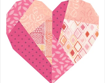 Paper Pieced Broken Heart Quilt Block Pattern (3 sizes)