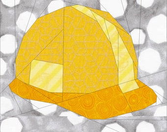 Hard Hat Quilt Block Pattern for Construction Workers Quilt