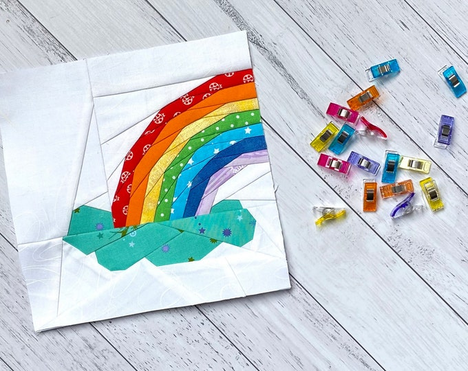 """Featured listing image: Rainbow Out of the Cloud, 9"""" Quilt Block."""