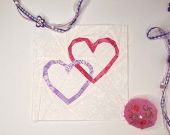 """Love Connection Quilt Block Pattern; 6"""" or 9"""" Templates"""