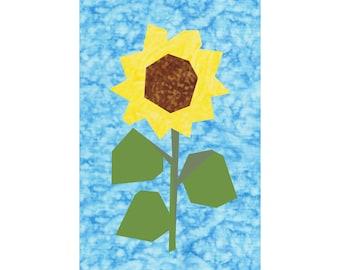 Sunflower Paper Pieced Quilt Block Pattern - 2 Sizes!