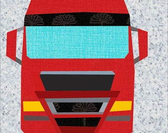Big Truck Paper Piece Foundation Pattern. 12 Inch Truck Patchwork Pattern.