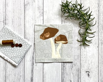 "Mushroom 6"" or 9"" Autumn/Fall Block Pattern"