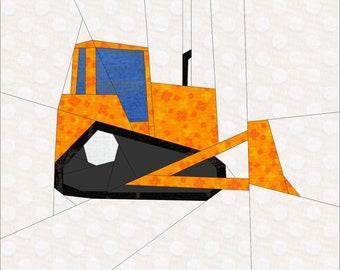 "Bulldozer Paper Piece Pattern. 12"" Quilt Block Pattern."