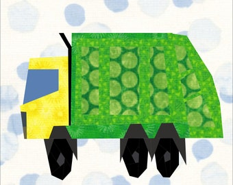 Garbage Recycling Truck Quilt Pattern, A 12 Inch Paper Piece Quilt Block Pattern.