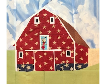 Traditional American Red Barn Quilt Pattern; A 12 Inch Foundation Paper Pieced Farm Quilt Patchwork Pattern.