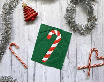 Paper Pieced Candy Cane Quilt Block Pattern