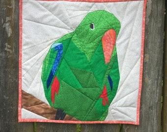 18 Inch Male Eclectus Parrot Paper Piece Quilt Pattern