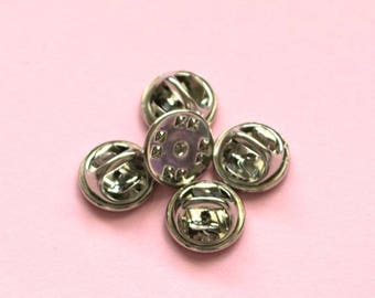 Butterfly Clutch Pin Backs - Set of Five Silver Color Pin Backs e7acee2e72