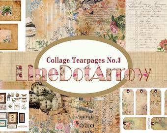 Collage Tear Pages No 3-Vintage junk journal kit-digital download-31 pages + 1 BONUS PAGE
