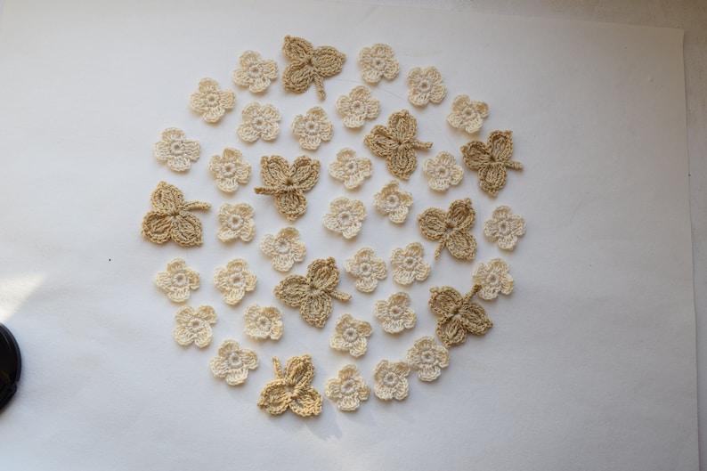 Decor clothes. Sewing applique Crochet flowers