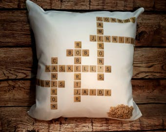 Tile pillow case, family pillow case, personalized pillow case, mothers day gift, father day gift, free shipping, best seller, board game