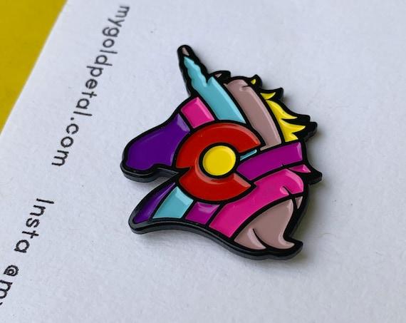 Colorado Pin, Enamel Colorado Pin, Colorado Pride Pin, Rainbow Unicorn Pin, Colorado Gift, Colorado Pin for Fanny Pack, Colorado Souvenir