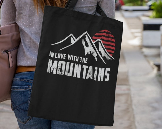 In Love with the Mountains Canvas Tote