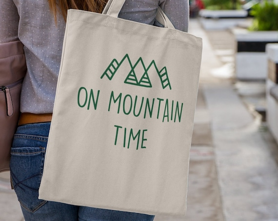 On Mountain Time Canvas Tote