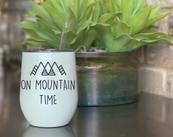 Colorado Mug | Swig™ Insulated Cup | Colorado Cup | Insulated Wine Tumbler | Colorado Tumbler | On Mountain Time | Colorado Gift | Wine Cup