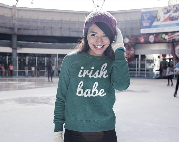 Irish Babe Sweatshirt   Irish Sweater   St Pattys Day Woman Shirt   Irish Shirt   St Patricks Day Shirt   Shamrock Shirt   Irish Sweatshirt